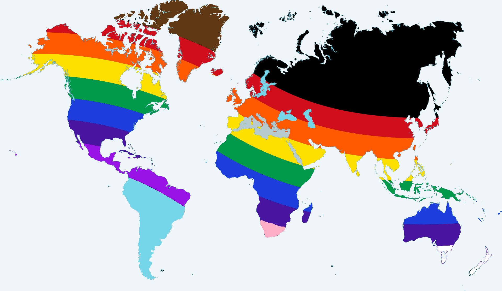 World map in pride colors